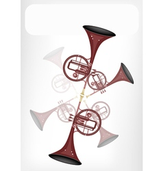 A musical straight mellophone with a white banner vector