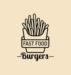 Vintage fast food logo retro fry potatoes vector