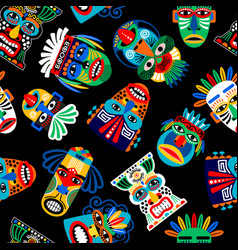peru warrior mask seamless pattern vector image