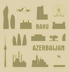 Baku azerbaijan city icon symbol silhouette set vector
