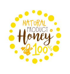 Honey natural product 100 percent logo colorful vector