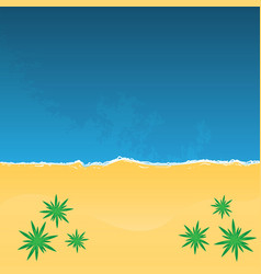 Tropical beach with palm trees top view vector