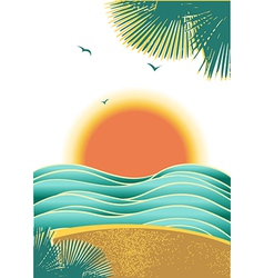 Nature tropical seascape background with sunlight vector image