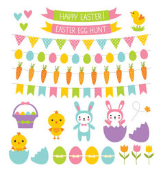 Easter design elements set vector
