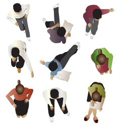 People sitting top view set 4 vector