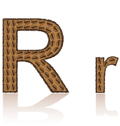 Letter r is made grains of coffee isolated on whit vector