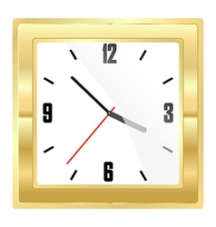 Square mechanical gold watch with a white dial and vector