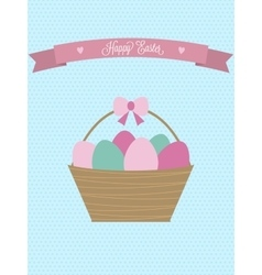 Easter card easter basket with eggs vector
