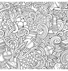 Cartoon hand-drawn science doodles seamless vector
