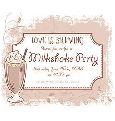 Hand drawn milkshake party invitation card vintage vector