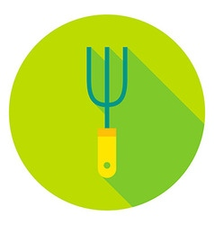 Garden fork tool circle icon vector