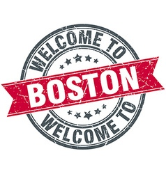Welcome to boston red round vintage stamp vector