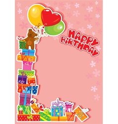Baby birthday card with teddy bear and gift boxes vector