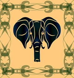 Negative silhouette of an elephant vector