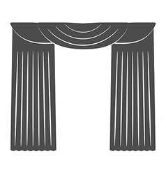 Curtains on a white background silhouette vector