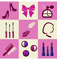 Beauty and makeup flat icons vector image vector image