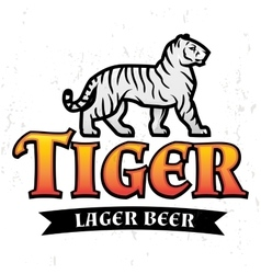 Bengal tiger beer logo lager label design vector