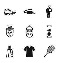 Big tennis icons set simple style vector image vector image