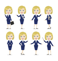 Blonde female character business woman vector