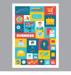 Business - mosaic poster with icons in flat design vector image vector image