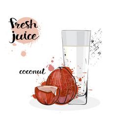 Coconut juice fresh hand drawn watercolor fruits vector