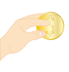 coin in hand vector image