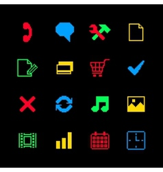 Colored pixel icons set for online shopping vector