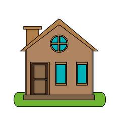 Colorful image cartoon facade village with chimney vector