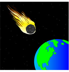Comet and planet land vector