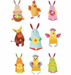 Easter characters vector image vector image