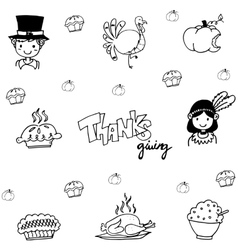 Eat element doodle of thanksgiving vector