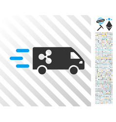 Fast ripple delivery car flat icon with bonus vector