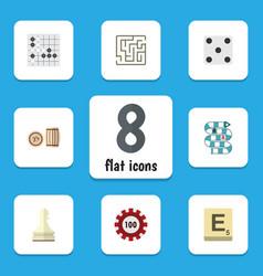 Flat icon games set of mahjong poker labyrinth vector