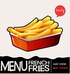 Frenchfries in red tray vector