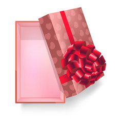 Gift box with pink ribbon flower and heart pattern vector