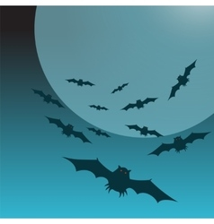 Halloween background with moon and bats vector image vector image