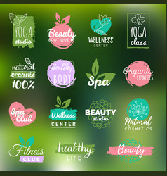 Health and beauty care labels spa yoga vector