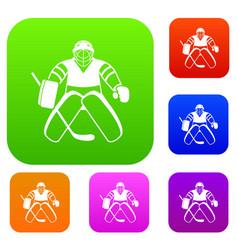 Hockey goalkeeper set collection vector