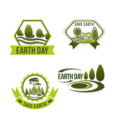 icons set for earth day or ecology company vector image vector image