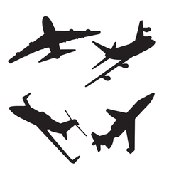 jet aircraft silhouettes vector image vector image
