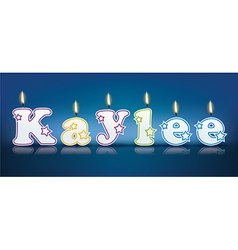 Kaylee written with burning candles vector