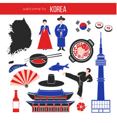 korean customs and landmarks vector image