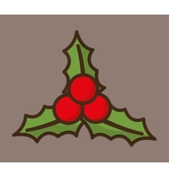 Leaves merry christmas design vector