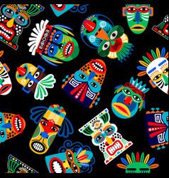 peru warrior mask seamless pattern vector image