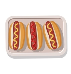 Plate of grilled hotdogs with mustard and ketchup vector