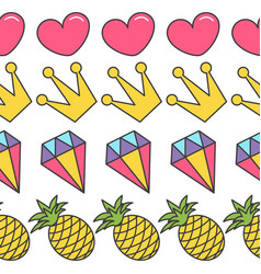 Quirky cartoon seamless pattern pink heart crown vector