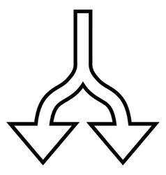 Split arrows down outline icon vector