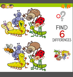 spot the differences with cute insects vector image vector image