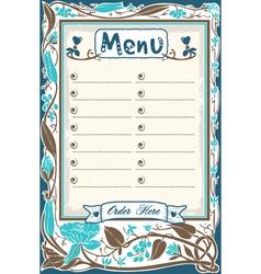 Vintage candid menu in blue vector