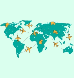 World map with air planes and trucks isolated on vector image